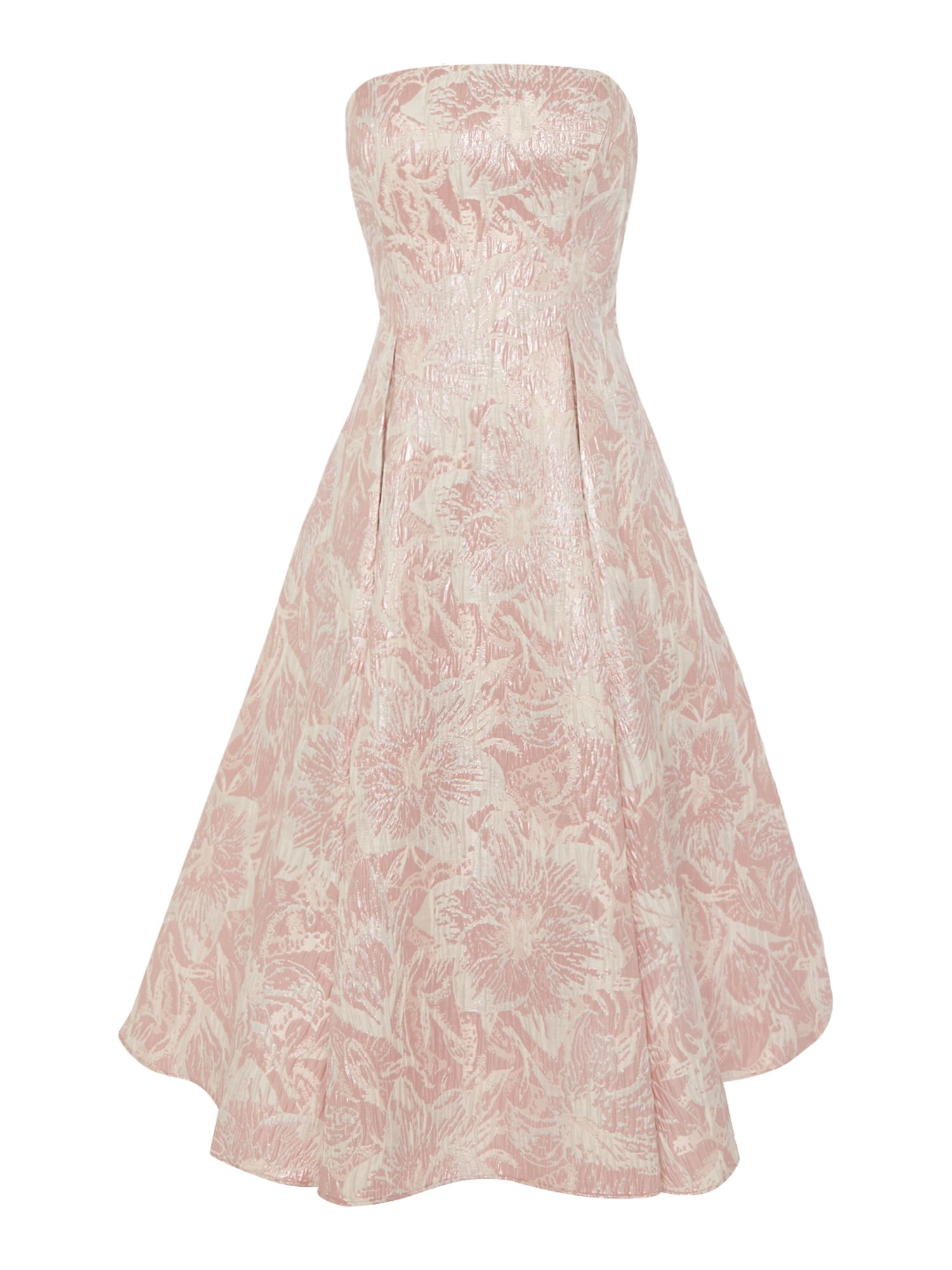 Adrianna Papell Strapless floral jacquard midi dress $210.00 AT vintagedancer.com