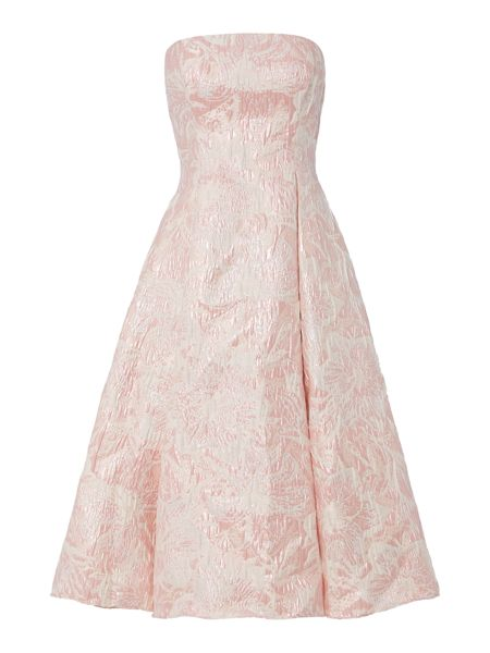Adrianna Papell Strapless floral jacquard midi dress