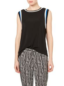 Vince Camuto Cap sleeve sport trim top