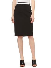 Knee length pencil skirt with zip back