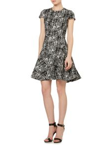 Etch print fit and flare dress