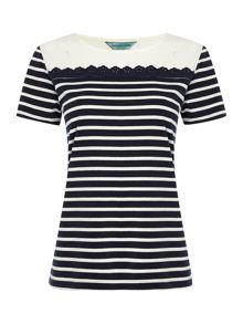 Stripe & Broderie Top