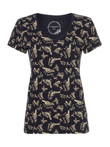 All over bird print top