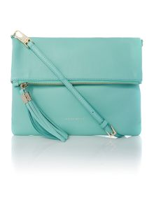 Green flap over cross body bag