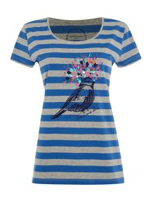 Bird placement print top