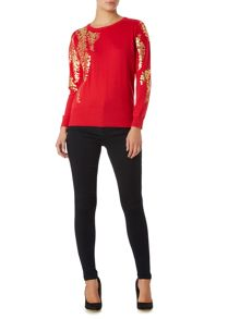 Oriental printed crew neck jumper