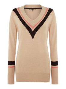 Biba Chevron stripe v neck jumper