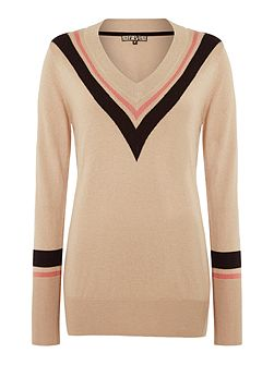 Chevron stripe v neck jumper