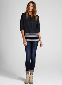 Navy & Ivory Stripe Hem Shirt