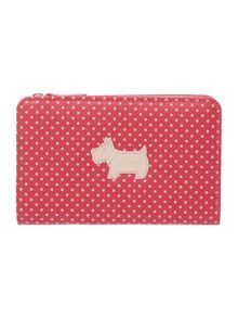 Heritage dog pink spots medium zip around purse