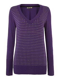 Studded v neck jumper