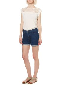 Embroidered yoke woven front top