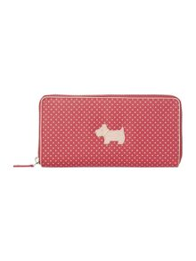 Heritage dog pink large zip around purse
