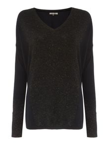 Boxy square sparkle v neck jumper