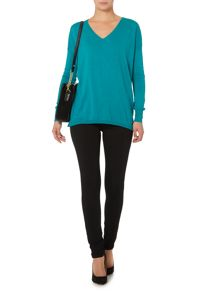 Biba Boxy square sparkle v neck jumper