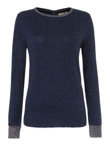 Button back sparkle crew neck jumper