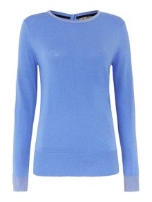 Biba Button back sparkle crew neck jumper