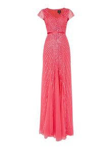 Cap sleeve gown with firework sequin pattern