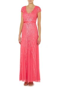Adrianna Papell Cap sleeve gown with firework sequin pattern