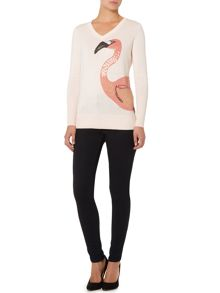 Flamingo placement v neck jumper