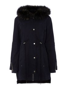 Label Lab Faux Fur Twill Parka Coat