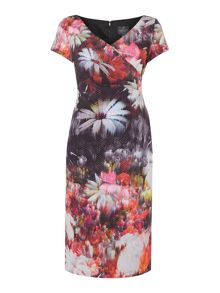 Printed shift dress wth side gathered waist