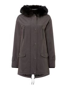 Label Lab Faux fur minimal parka coat