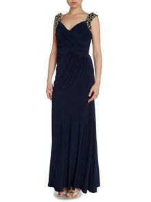 Sweetheart neck gown with beaded straps