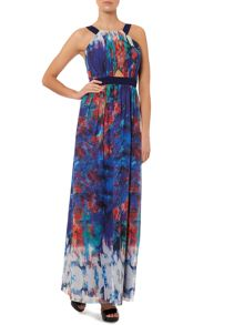 Sleeveless racer print maxi dress