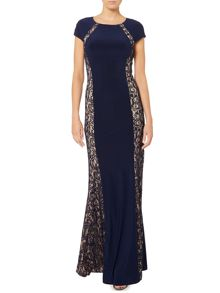 Jersey gown with lace side panels