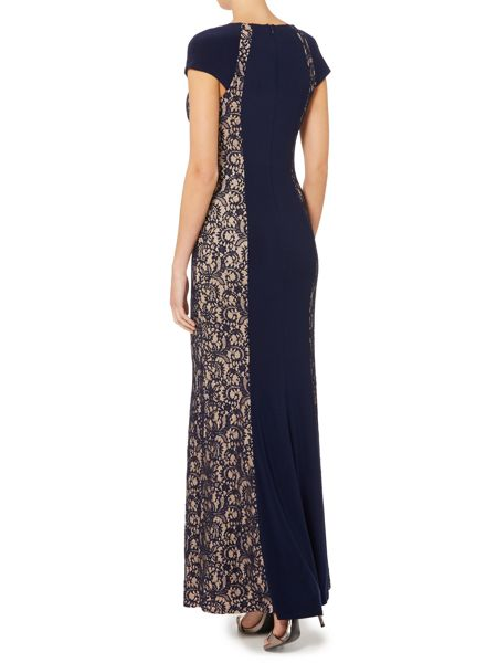 JS Collections Jersey gown with lace side panels