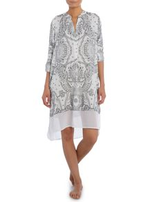 DKNY Long Sleeve Paisley Night Shirt