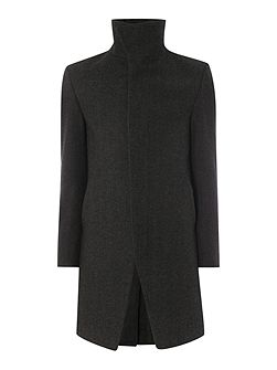Casual Funnel Neck Button Overcoat
