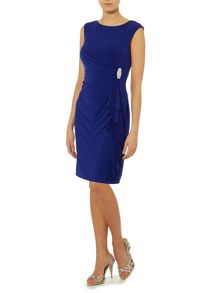 Ruched Waterfall Diamante Dress