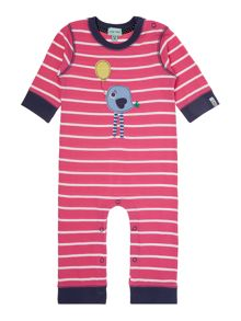 Baby girls striped robin applique