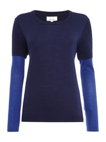 Merino ribbed colourblock jumper