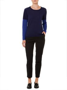 Linea Merino ribbed colourblock jumper