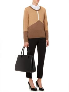 Merino colourblock camel jumper