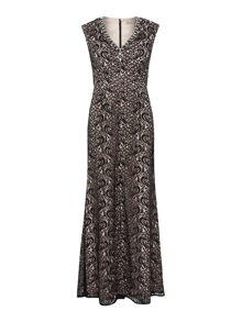 Embellished V neck lace gown