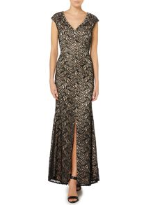 Eliza J Embellished V neck lace gown
