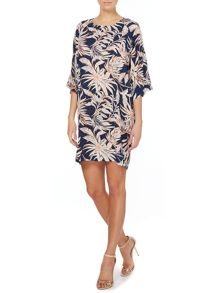 Cocoon tropical print dress