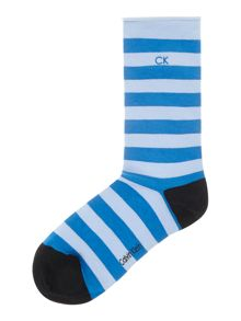 Soft cotton striped ankle socks with roll top