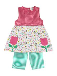 Baby girls flower top with stripe leggings