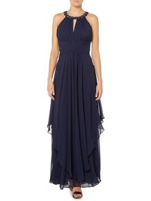 Halter neck maxi with ruched neckline