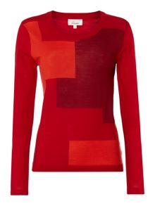 Machine washable geo colourblock jumper