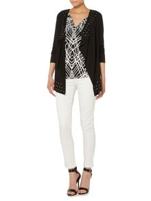 Jersey studded cardigan top
