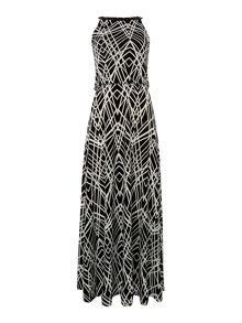 Sleeveless printed cinched waist maxi dress