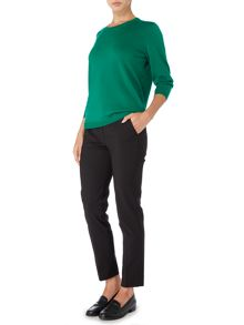 Linea Machine washable merino 3/4 sleeve tipped jumper