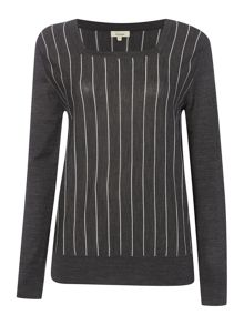 Merino pinstripe square neck jumper