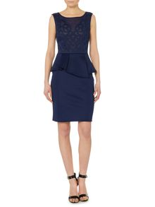 Michelle Keegan cutwork detail peplum dress
